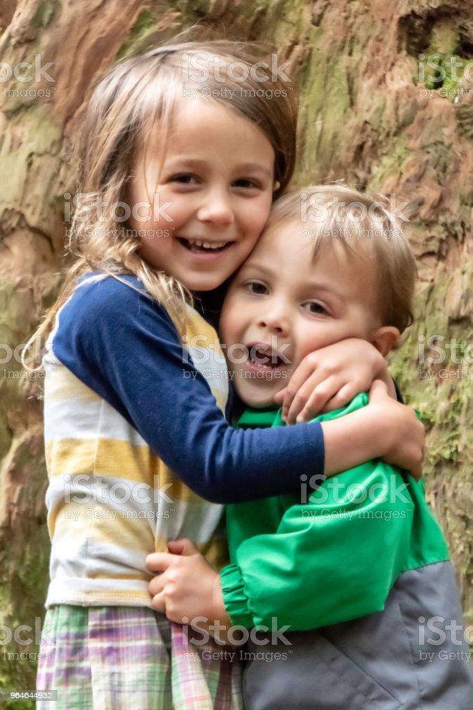 siblings embracing royalty-free stock photo