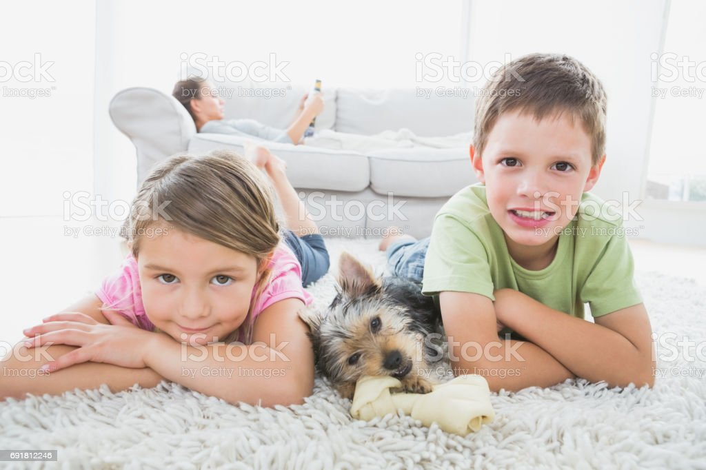 Siblings lying on rug with yorkshire terrier smiling at camera stock photo