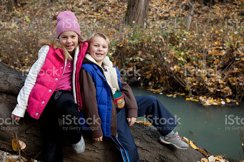 Siblings on a log stock photo