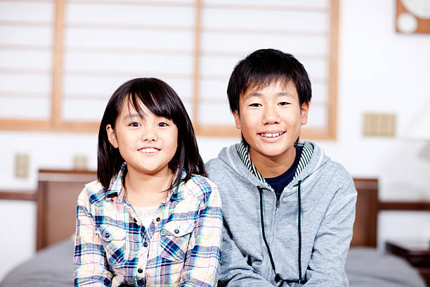 Japanese Brother And Sister Stock Photos, Pictures