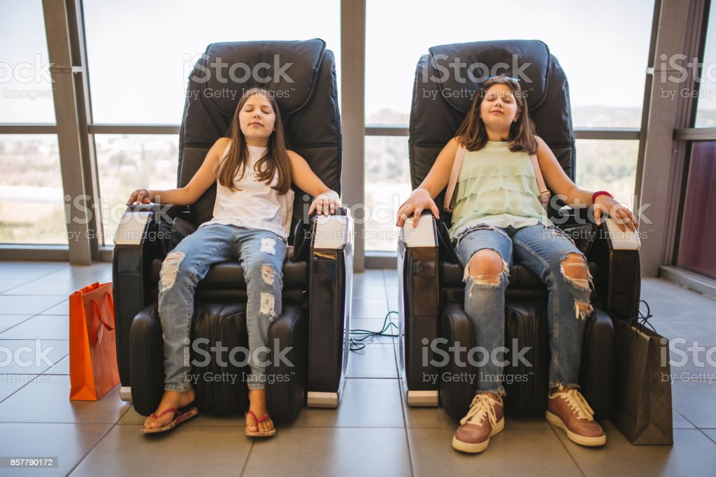 Siblings relax stock photo