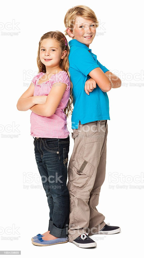 Siblings Standing Together - Isolated royalty-free stock photo