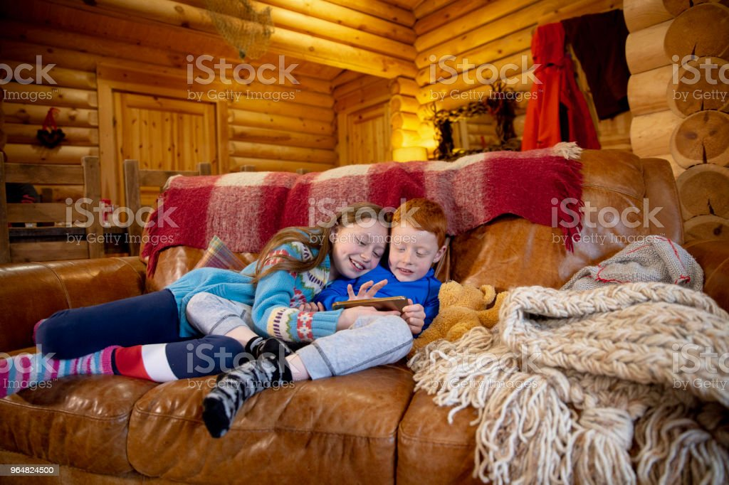 Siblings Using a Smartphone royalty-free stock photo