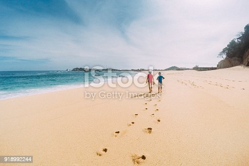 istock Siblings walk a Deserted Oaxaca Beach in Mexico 918992244