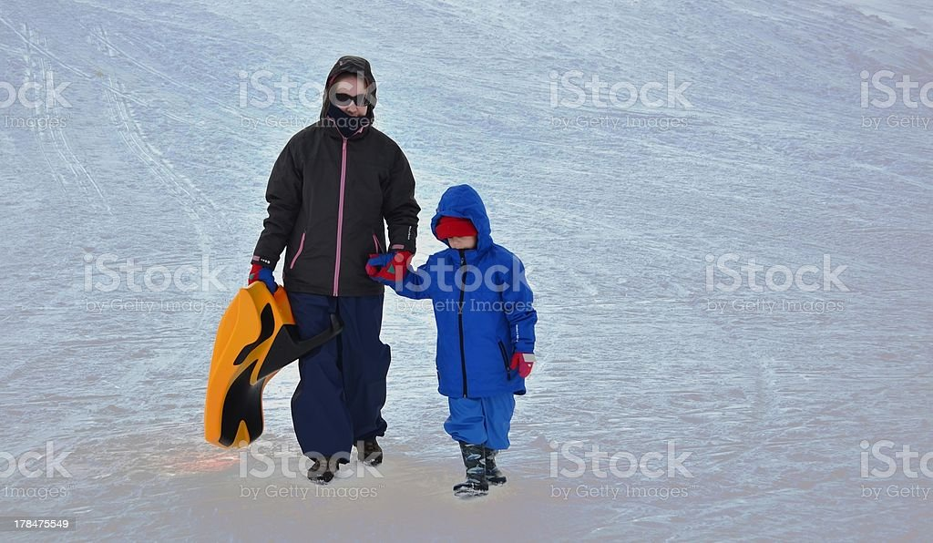Siblings with a Sled royalty-free stock photo