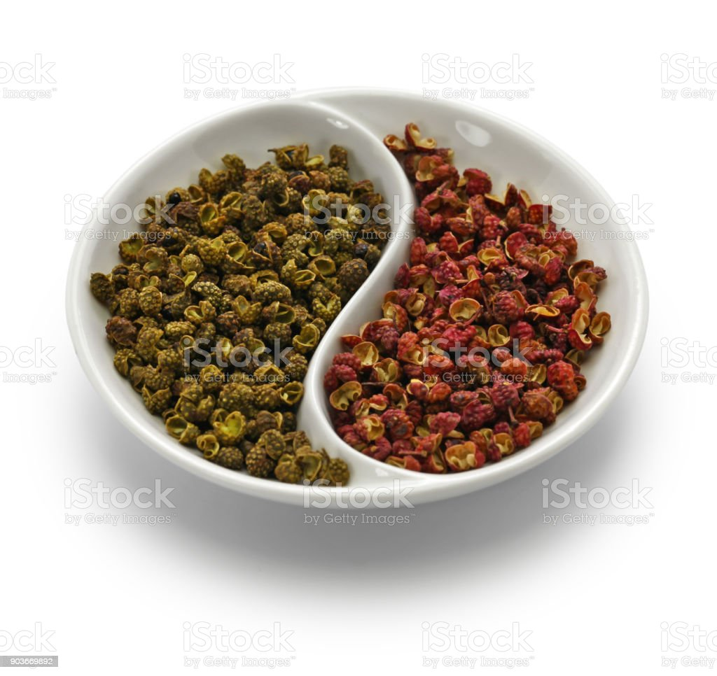 sichuan pepper, green and red stock photo