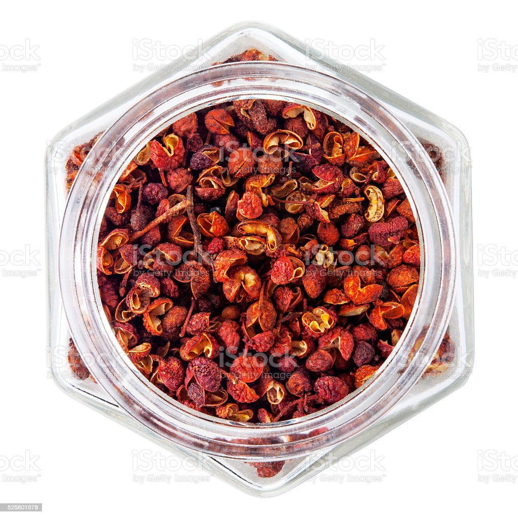 Sichuan pepper isolated on white background stock photo