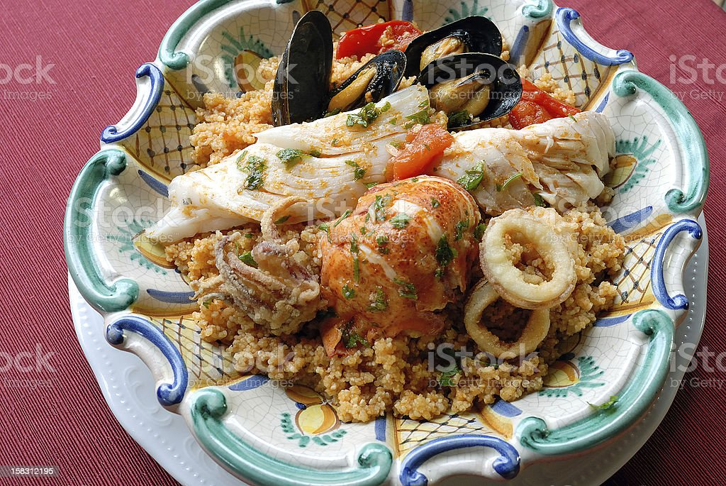 Sicilan fish couscous stock photo