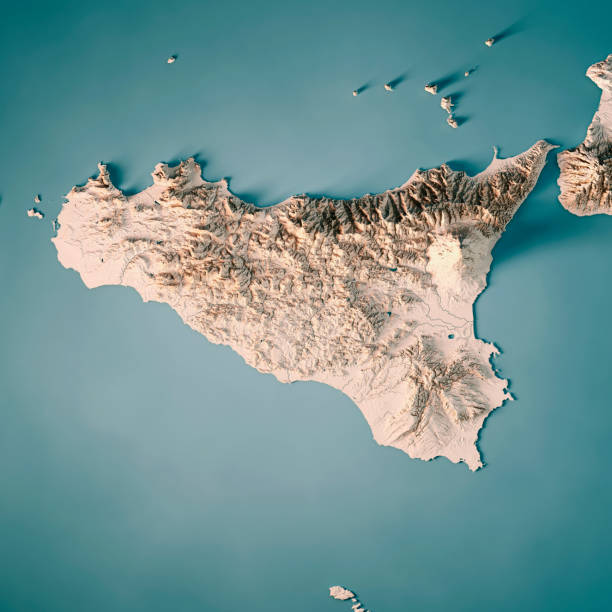 sicilia island italy 3d render topographic map neutral - italy map stock photos and pictures