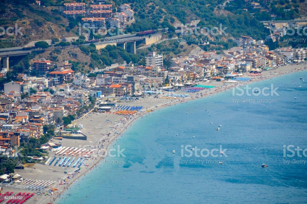 Sicilian coastline near Taormina - Giardini Naxos, Italy stock photo
