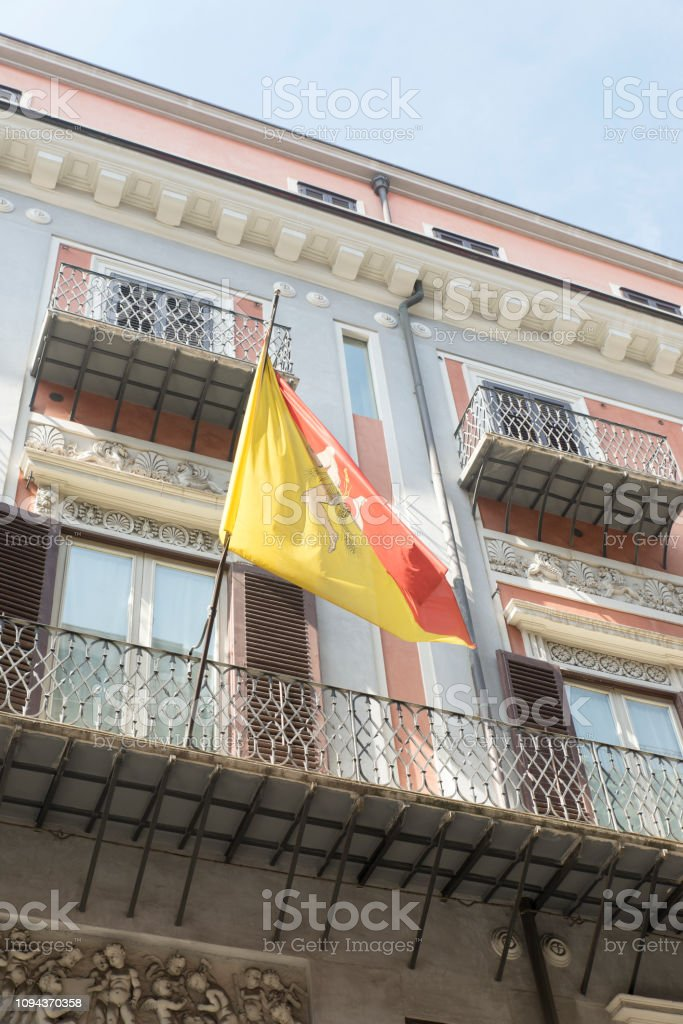 Sicilian Flag On An Old House In Palermo Sicily Stock Photo ...