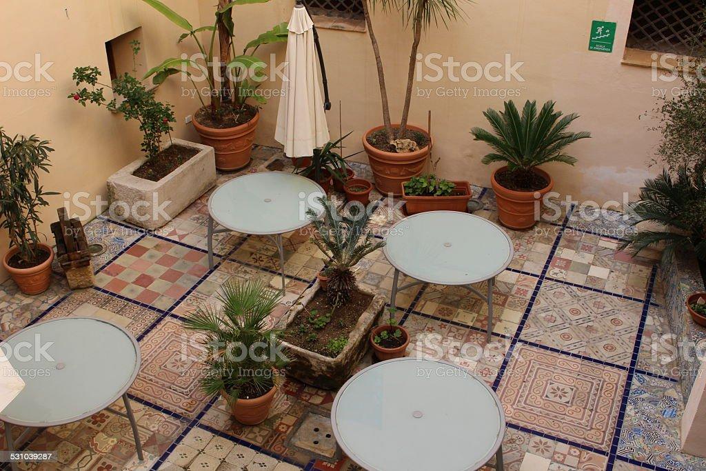 Sicilian interior courtyard stock photo