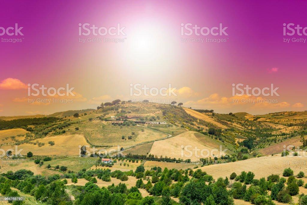 Sicilian landscape at sunrise royalty-free stock photo
