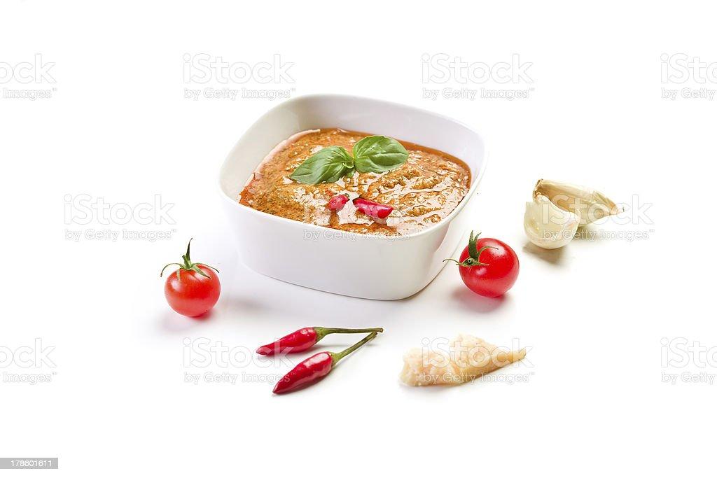 Sicilian Pesto with chili on white stock photo