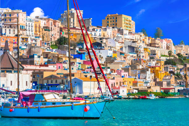 Sicily - beautiful coastal town Sciacca in south of island. Italy Landmarks of Sicily island , coastal town Sciacca southern charm stock pictures, royalty-free photos & images