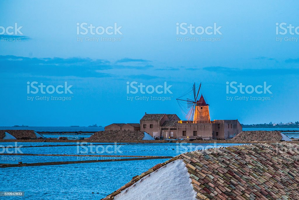 sicily landscape with saline stock photo