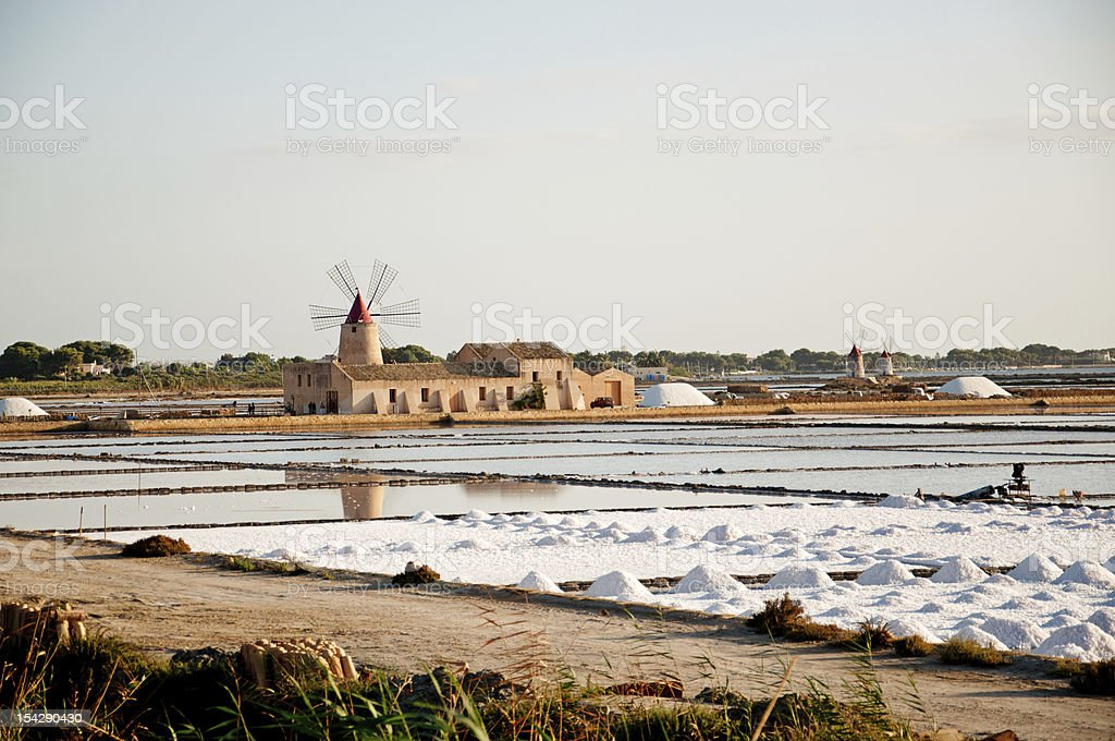 Sicily: Marsala Saltworks, Windmills stock photo