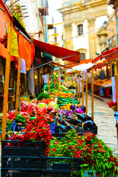 sicily street market bazaar. colorful vegetables traditional stall, travel italy - palermo città foto e immagini stock