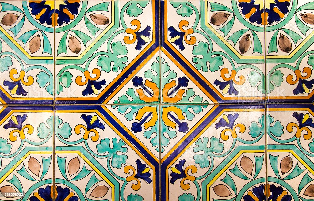 sicily style antique floor tiles in yellow and green close up royalty - Antique Floor Tiles