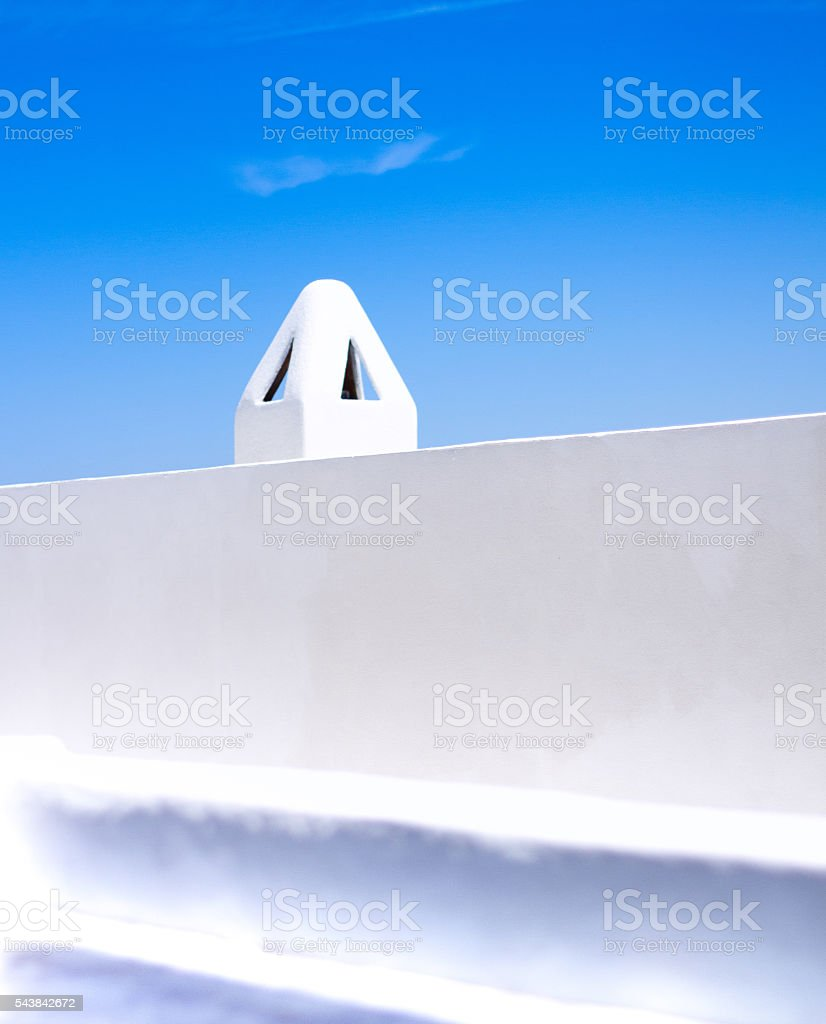Sicily Style: White Chimney on Whitewashed House, Aeolian Islands stock photo