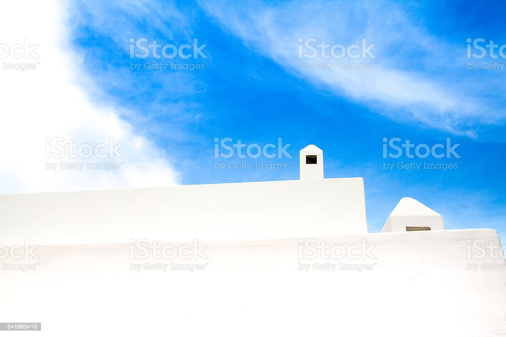 Sicily Style: White Chimneys on Whitewashed Houses, Aeolian Islands stock photo
