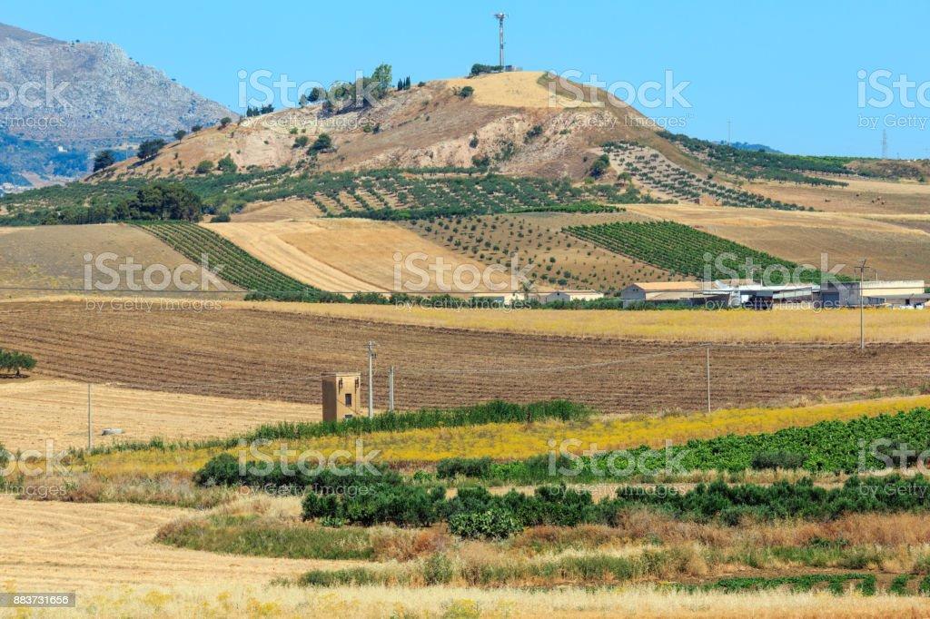 Sizilien Sommer Landwirtschaft Land, Italien – Foto