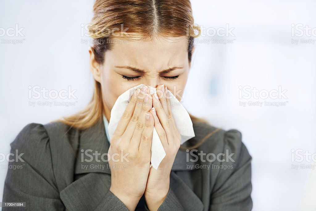 Sick businesswoman. stock photo