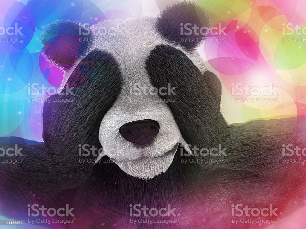 sick character panda bamboo junkie experiencing strong hallucinations stock photo