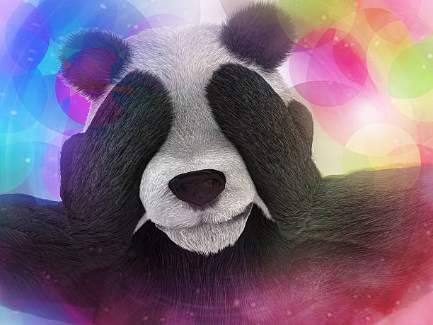sick character panda bamboo junkie experiencing strong hallucinations - ketamine stockfoto's en -beelden