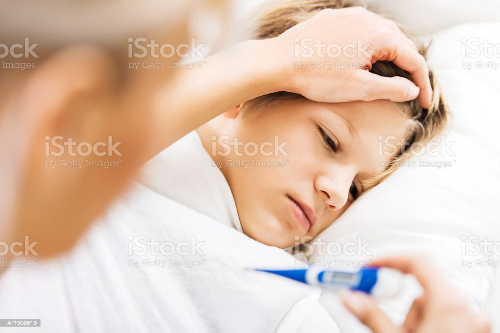 Sick child. stock photo