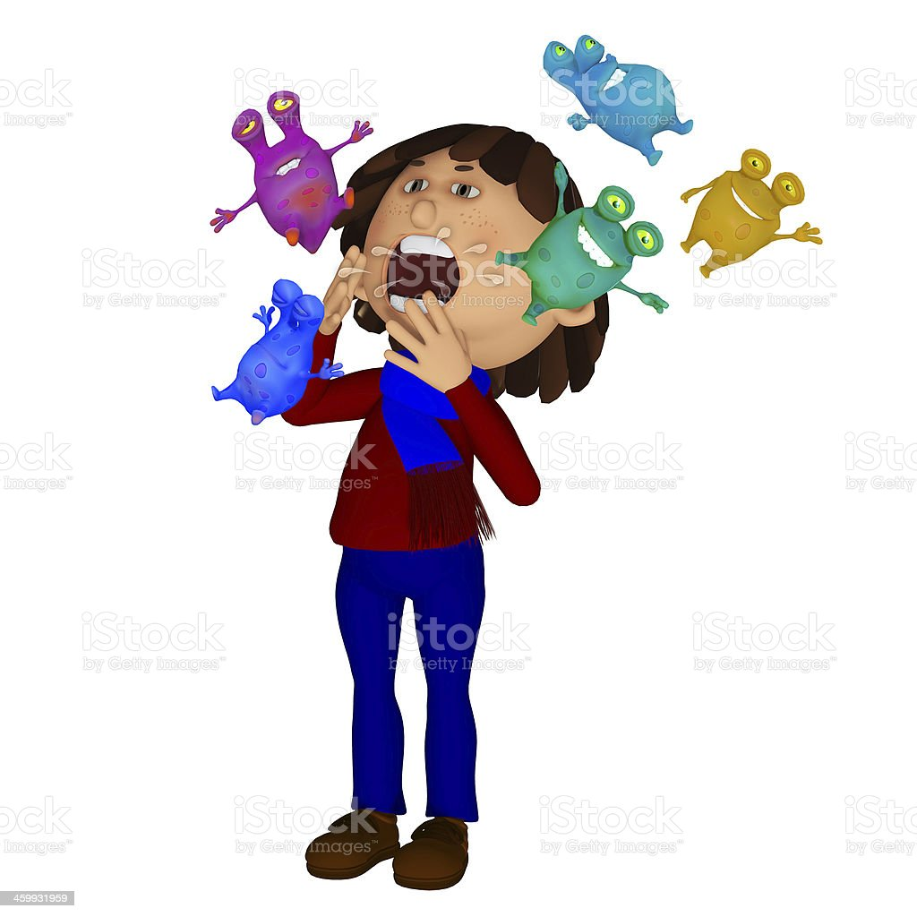 Sick child, sneezing microbes royalty-free stock photo