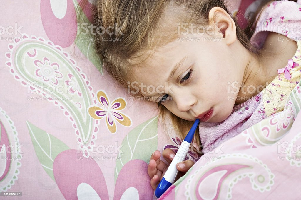 Sick Child With Thermometer royalty-free stock photo