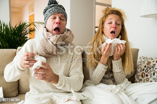 istock Sick couple catch cold 621146764