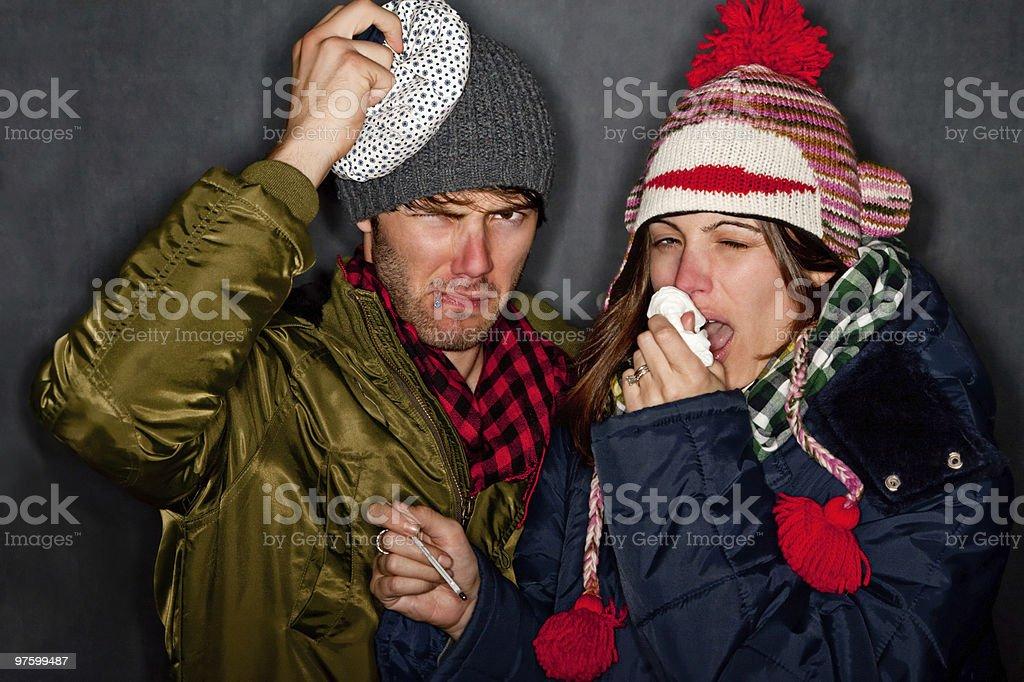 Sick Couple royaltyfri bildbanksbilder