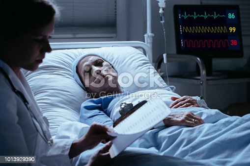 928968772 istock photo Sick elderly woman with cancer looking at doctor with test results during visit 1013929390