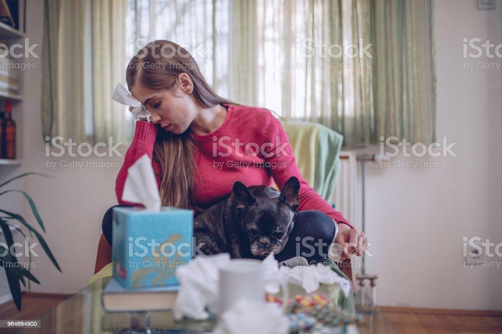 Sick girl at home royalty-free stock photo