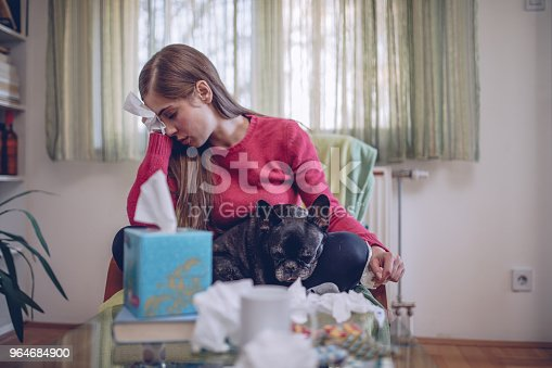 Sick Girl At Home Stock Photo & More Pictures of Adult