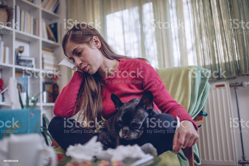 Sick girl at home royalty-free stock photo