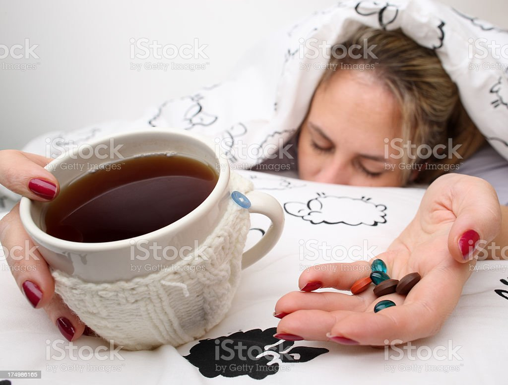 Sick in Bed royalty-free stock photo