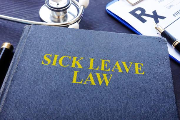 sick leave law book and the stethoscope. - до свидания стоковые фото и изображения