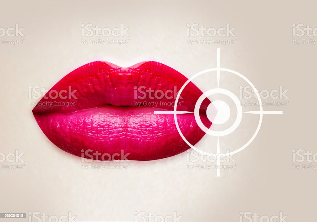 Sick lips, disease, herpes virus, affected lip balm, cure for herpes. Crack on the lips. Sexy lips with pink lipstick isolated on white background. Women's lips hurt. Red lipstick on lips stock photo