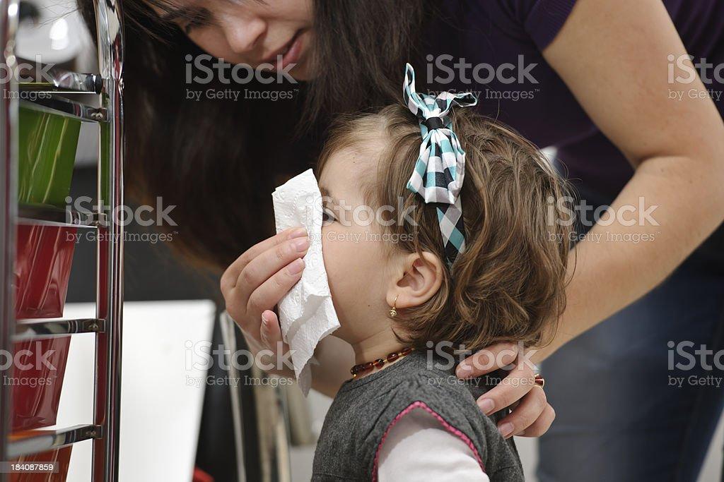 sick little girl stock photo