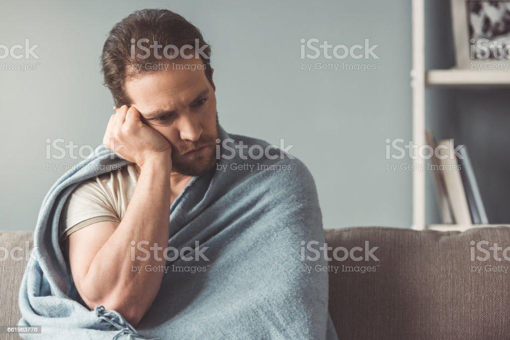 Sick man at home royalty-free stock photo