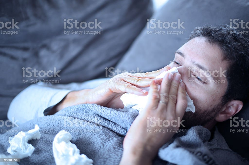 sick man , flu, cold and he has fever - foto de stock