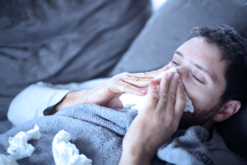 Sick Man Flu Cold And He Has Fever Stock Photo - Download Image Now