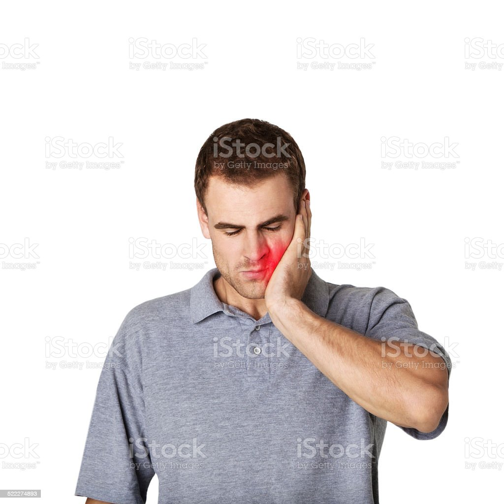 sick man touching his cheek with a hand stock photo