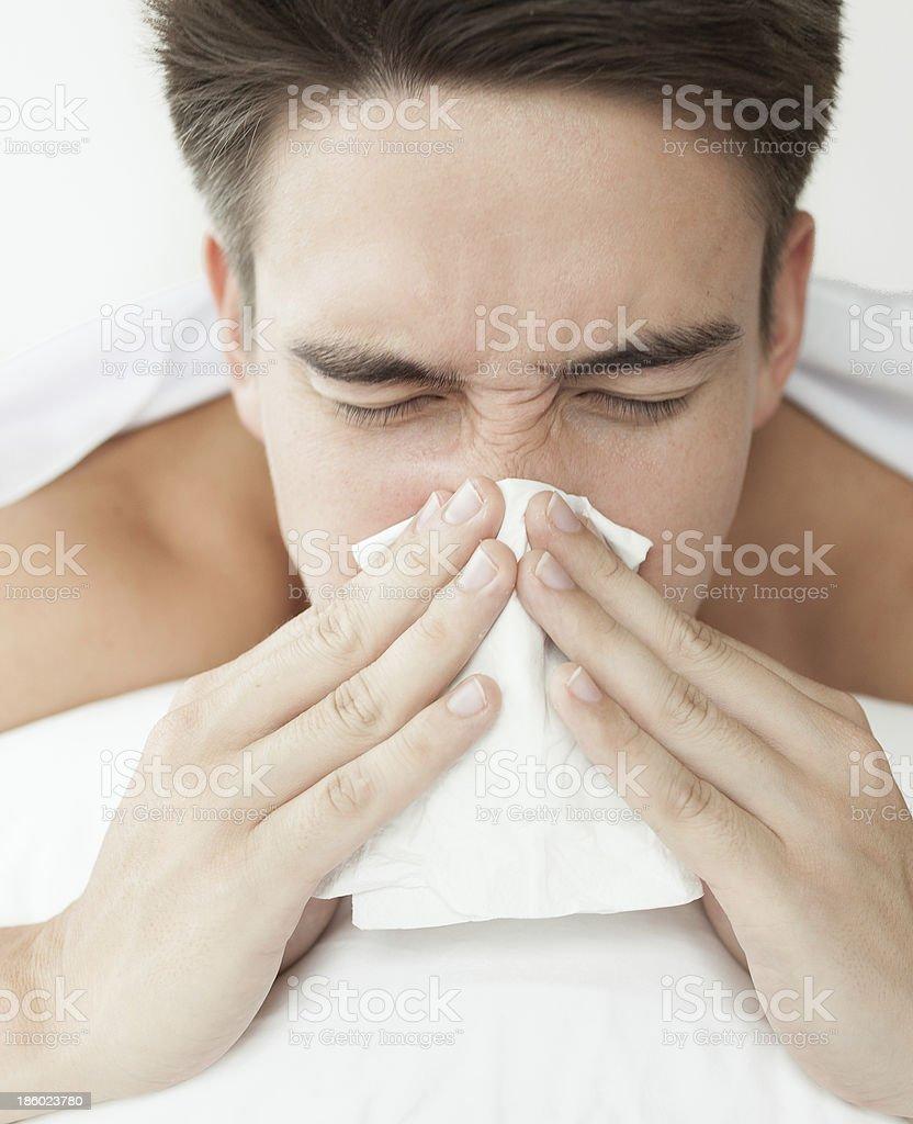 Sick man with flu royalty-free stock photo