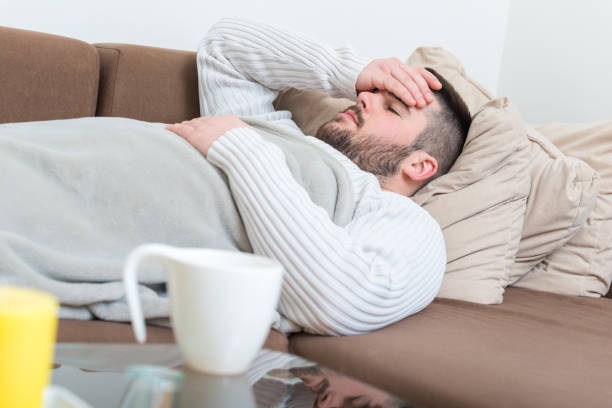 Sick man with flu stock photo