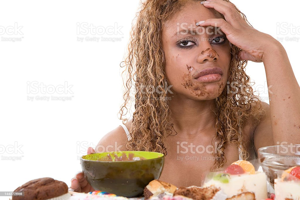 Sick of herself stock photo