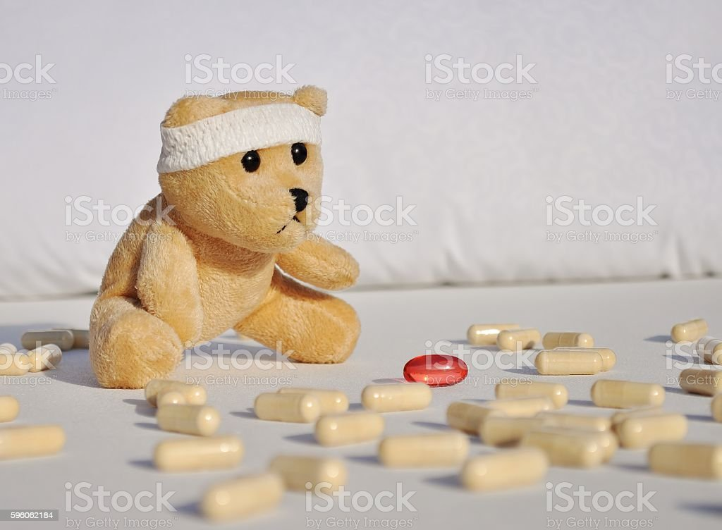 Sick teddy bear. royalty-free stock photo